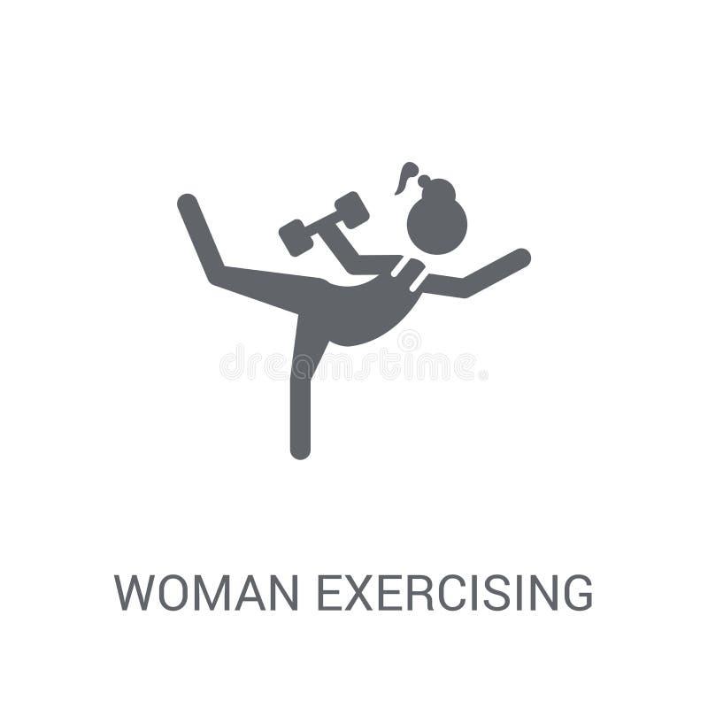Mujer que ejercita el icono Mujer de moda que ejercita concepto del logotipo en w ilustración del vector