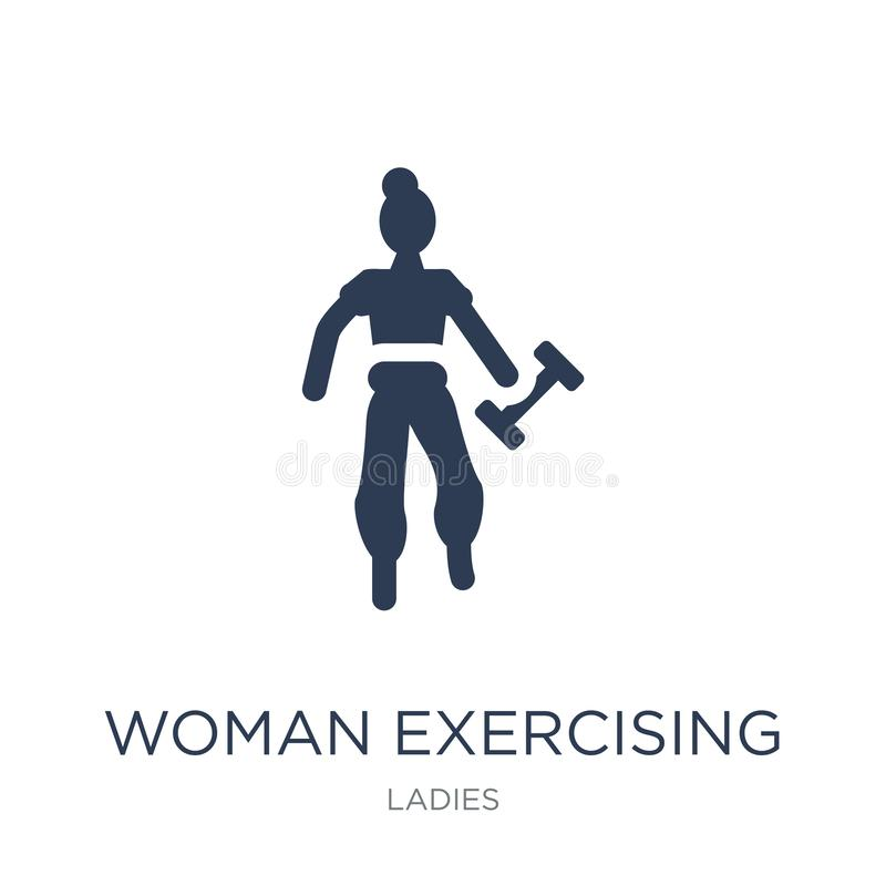 Mujer que ejercita el icono Mujer plana de moda del vector que ejercita el icono libre illustration