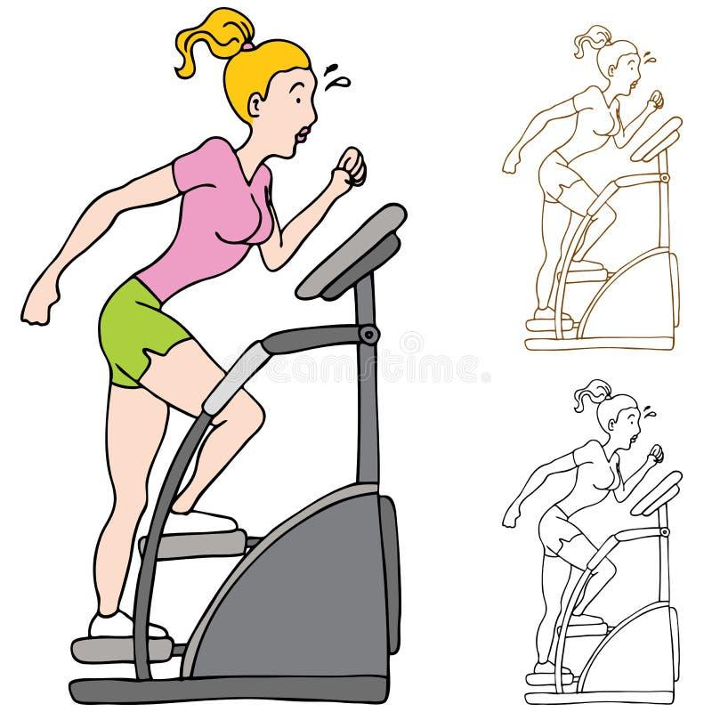 Mujer que ejercita en la máquina de Stairclimber ilustración del vector