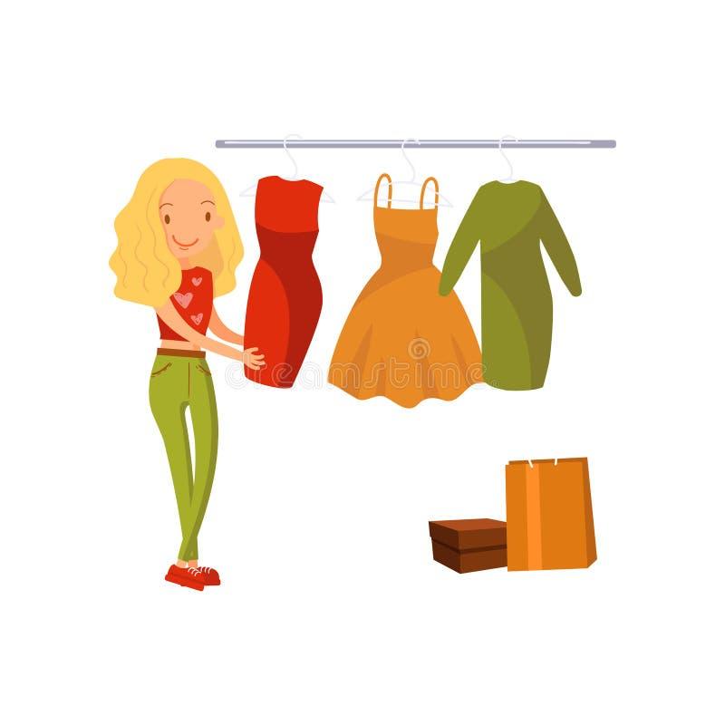 Mujer que elige el vestido durante compras, ropa de compra de la muchacha en un ejemplo del vector de la historieta de la alameda libre illustration
