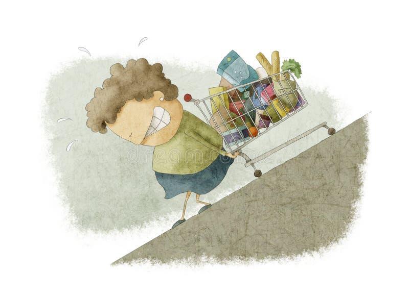 Mujer que empuja hacia arriba un carro de la compra libre illustration