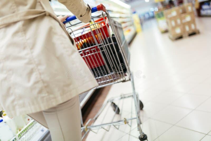Mujer que empuja la carretilla de las compras imagen de archivo libre de regalías