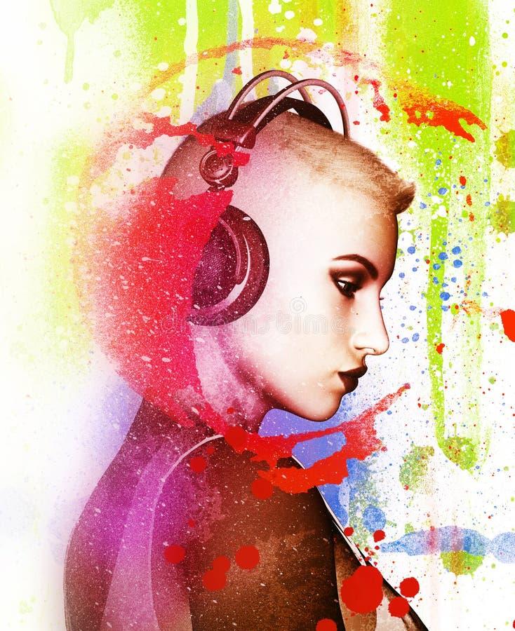 Mujer que escucha la música stock de ilustración