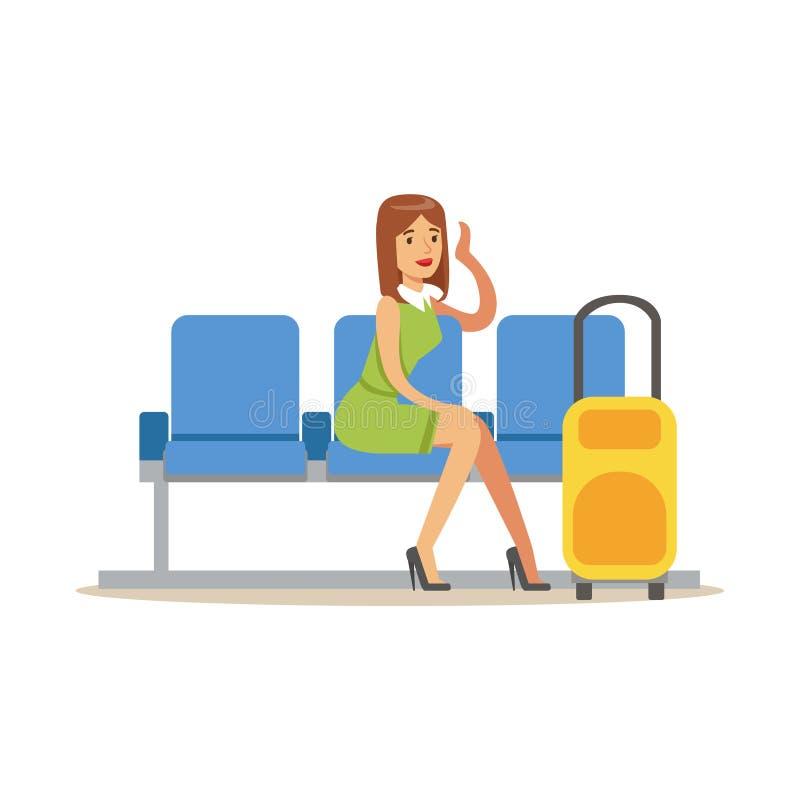 Mujer que espera su vuelo en la pieza del pasillo del aeropuerto y la serie relacionada de las escenas del transporte aéreo de ej stock de ilustración