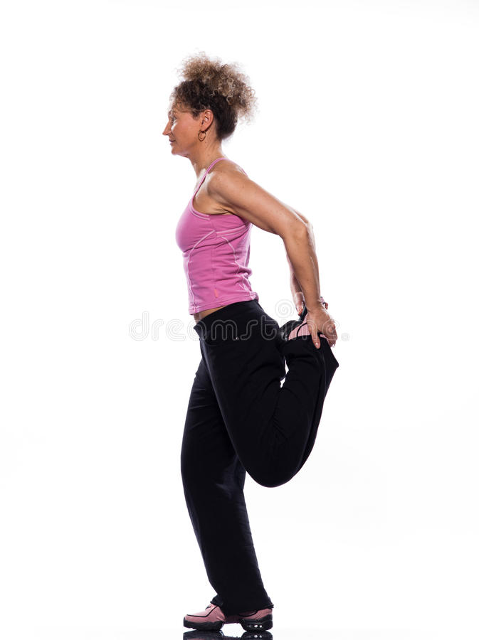 Mujer que estira postura foto de archivo