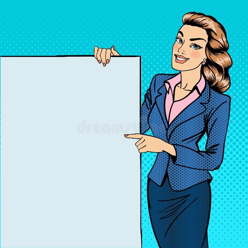Mujer que gesticula en el cartel Empresaria Holding Banner ilustración del vector
