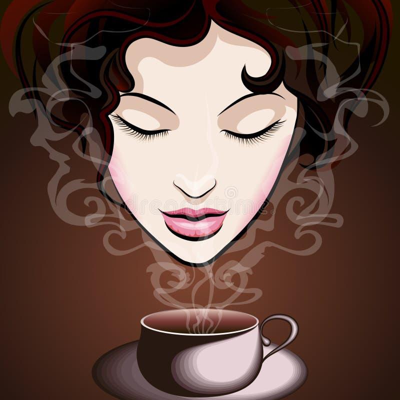 Mujer que goza del café stock de ilustración
