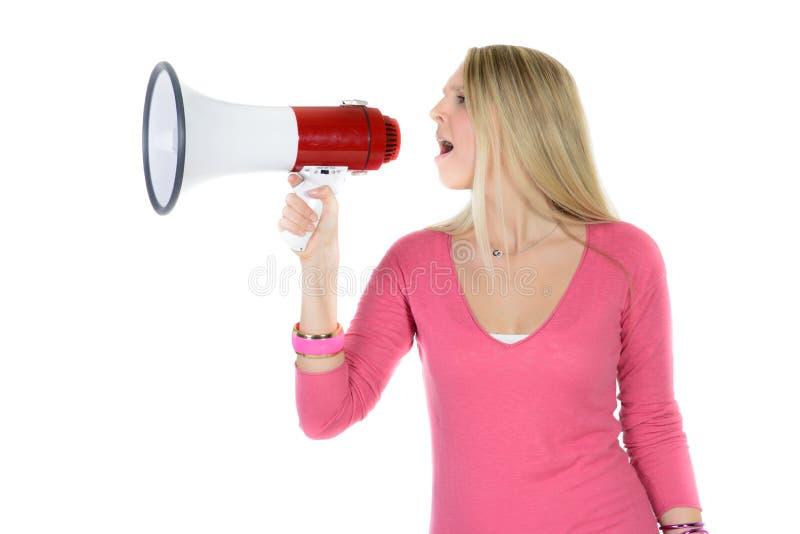 Mujer que grita en el megáfono imágenes de archivo libres de regalías