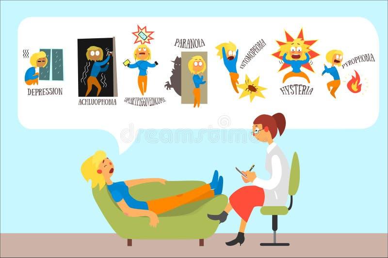 Mujer que habla con el psicoterapeuta sobre problemas y la depresi?n de las fobias, achluophobia, nomophobia, paranoia libre illustration