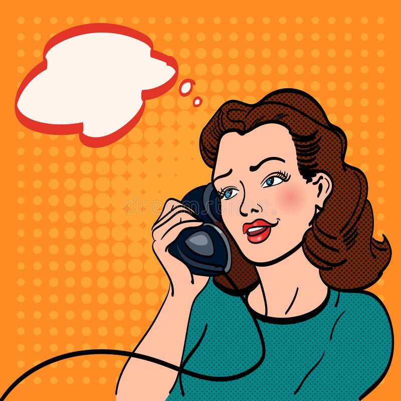 Mujer que habla en el arte pop del teléfono libre illustration