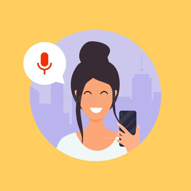 Mujer que habla en el teléfono con el ayudante de la voz digital fla ilustración del vector