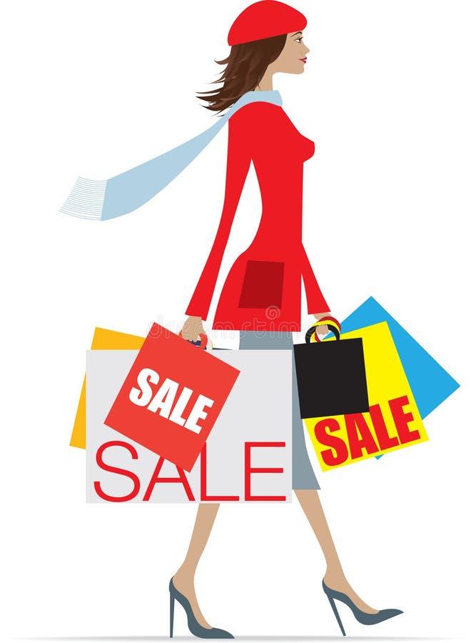 Mujer que hace compras de las ventas ilustración del vector