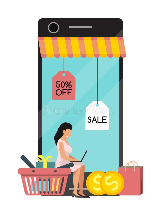 Mujer que hace compras móvil en línea en página web o el márketing del concepto del vector de la aplicación móvil y el márketing  stock de ilustración