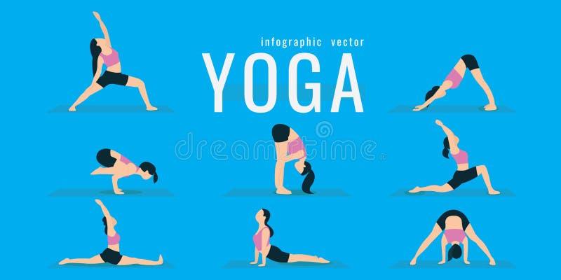 Mujer que hace ejercicios de la aptitud y de la yoga Estocadas y posiciones en cuclillas Activ ilustración del vector