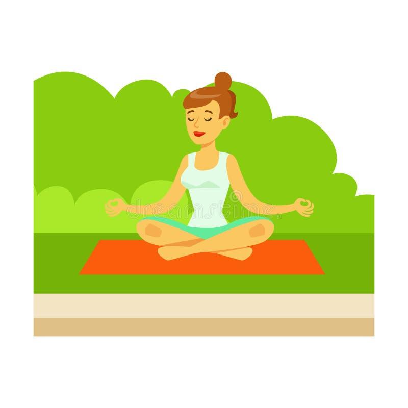 Mujer que hace ejercicios y Medtating de la yoga en Lotus Pose On Grass, parte de gente en la serie de actividades del parque libre illustration