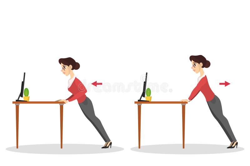 Mujer que hace el ejercicio para el estiramiento trasero en oficina stock de ilustración