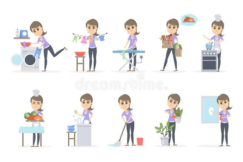 Mujer que hace el hogar libre illustration