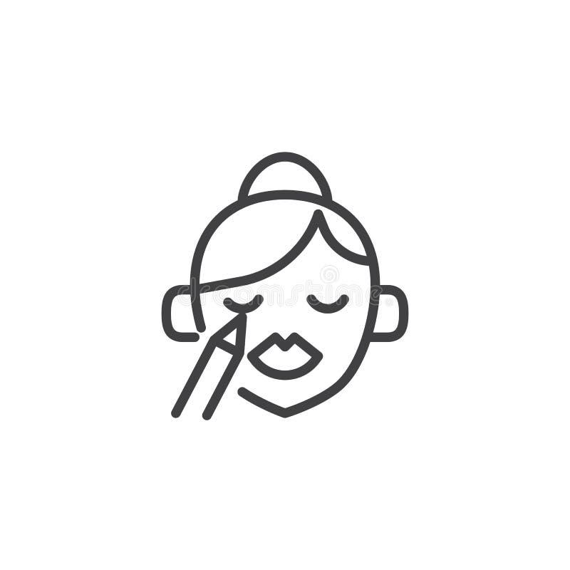Mujer que hace el icono del esquema del maquillaje stock de ilustración