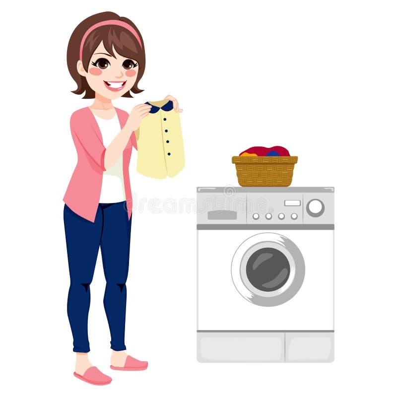Mujer que hace el lavadero libre illustration