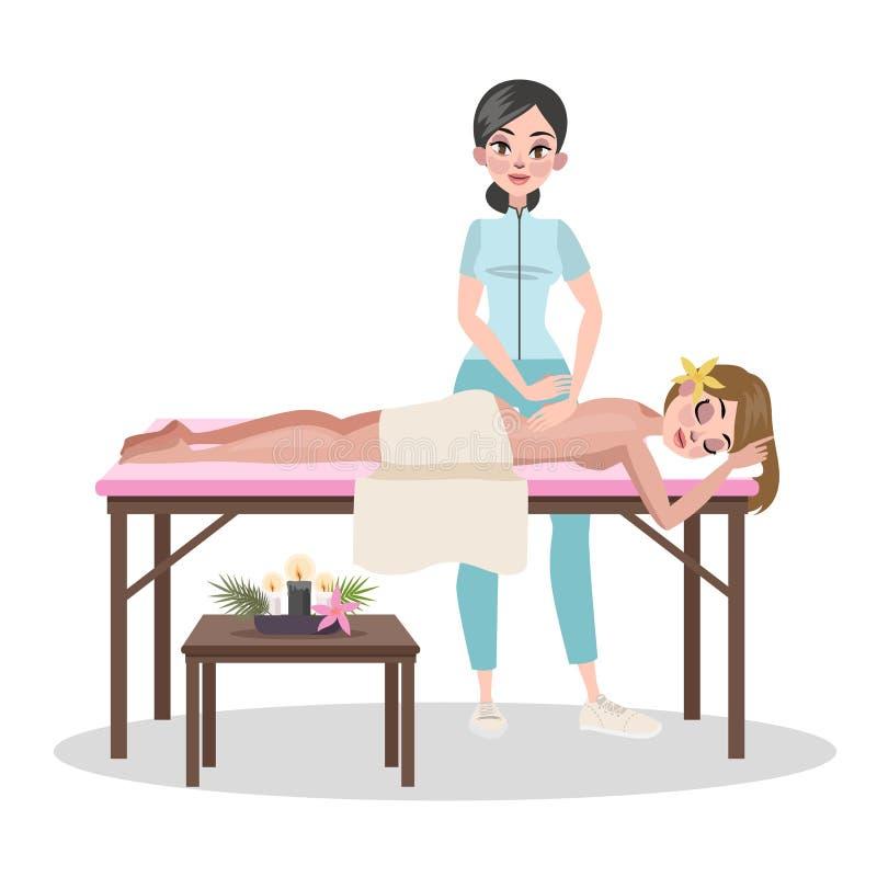 Mujer que hace el masaje para una señora joven stock de ilustración