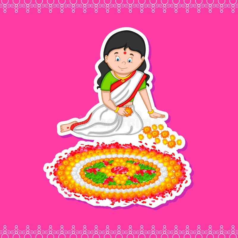 Mujer que hace el rangoli para el festival indio, Onam ilustración del vector