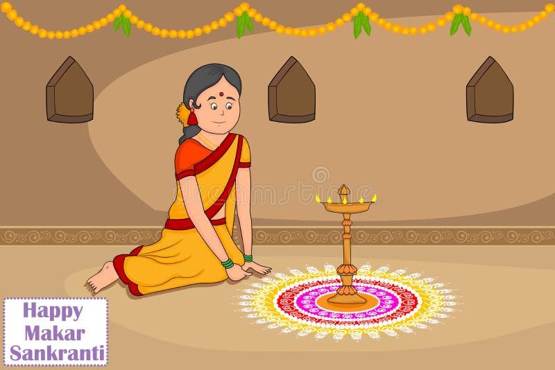 Mujer que hace el rangoli para Makar Sankranti ilustración del vector