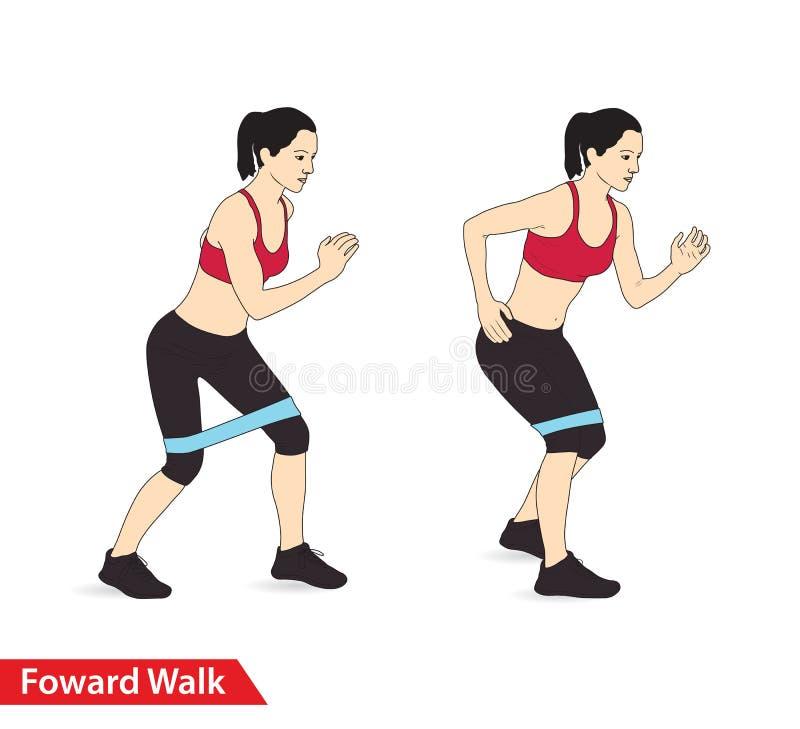 Mujer que hace entrenamiento delantero del paseo con el crujido de la banda de la resistencia para la guía del ejercicio ilustración del vector