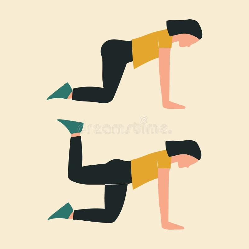 Mujer que hace extensiones cuadrúpedas de la cadera Ejemplos de los ejercicios y de los entrenamientos del glute Ejemplo plano de ilustración del vector