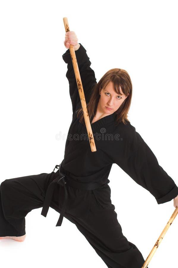 Mujer que hace karate fotos de archivo libres de regalías