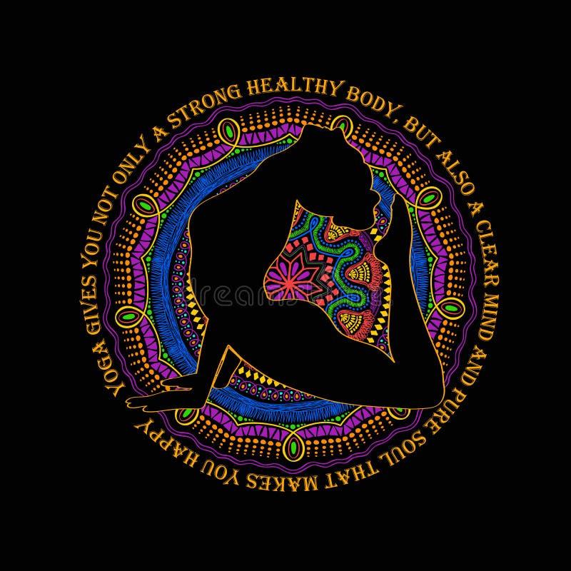 Mujer que hace la actitud de la cobra de la yoga y de Mandala Design libre illustration