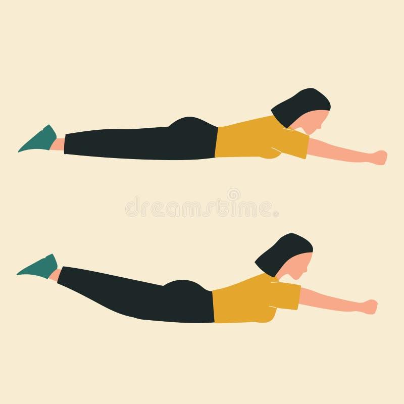 Mujer que hace los enchufes del piso Ejemplos de los ejercicios y de los entrenamientos del glute Ejemplo plano del vector libre illustration