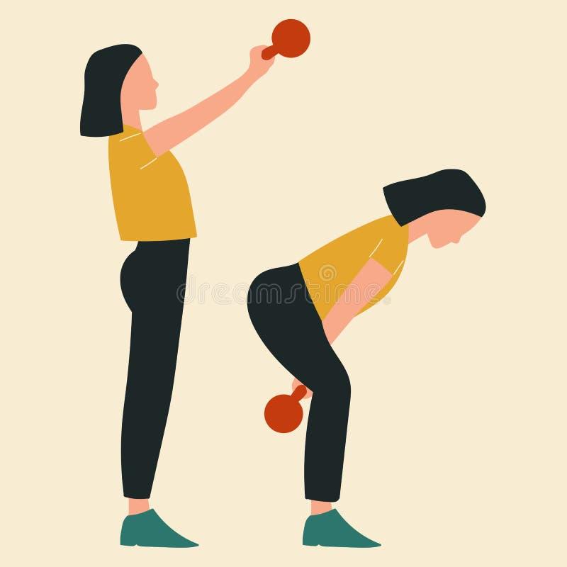Mujer que hace oscilaciones del kettlebell Ejemplos de los ejercicios y de los entrenamientos del glute Ejemplo plano del vector stock de ilustración