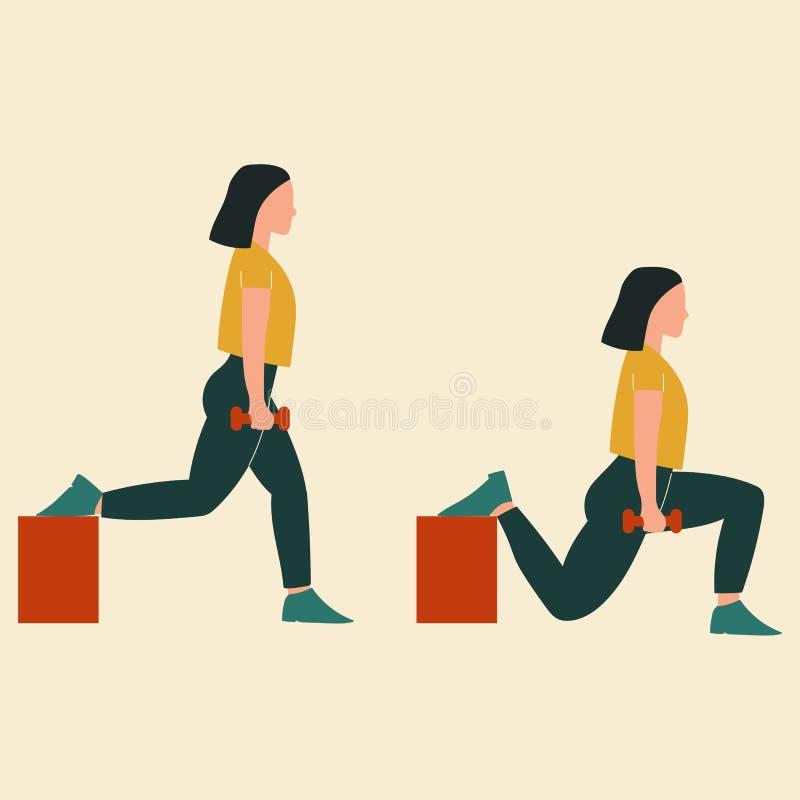 Mujer que hace posiciones en cuclillas partidas búlgaras Ejemplos de los ejercicios y de los entrenamientos del glute Ejemplo pla libre illustration