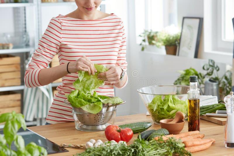 Mujer que hace una ensalada imagen de archivo