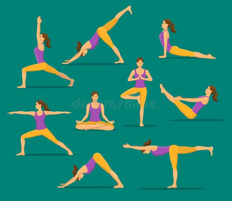 Mujer que hace yoga Asanas de la yoga fijados stock de ilustración