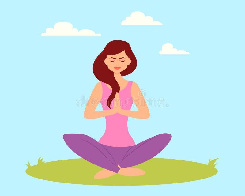 Mujer que hace yoga en el parque libre illustration