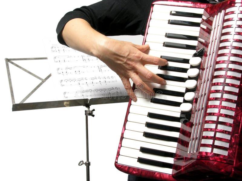 Mujer que juega el acordión imagenes de archivo