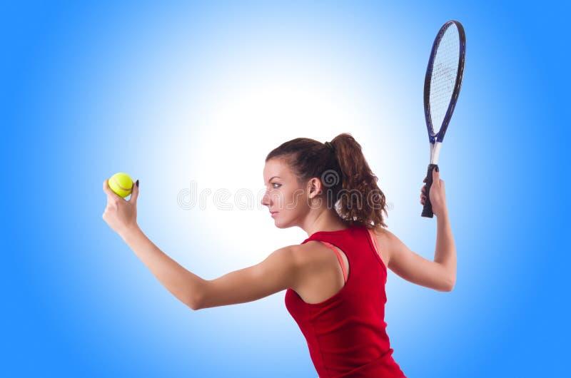 Mujer que juega a tenis fotos de archivo libres de regalías