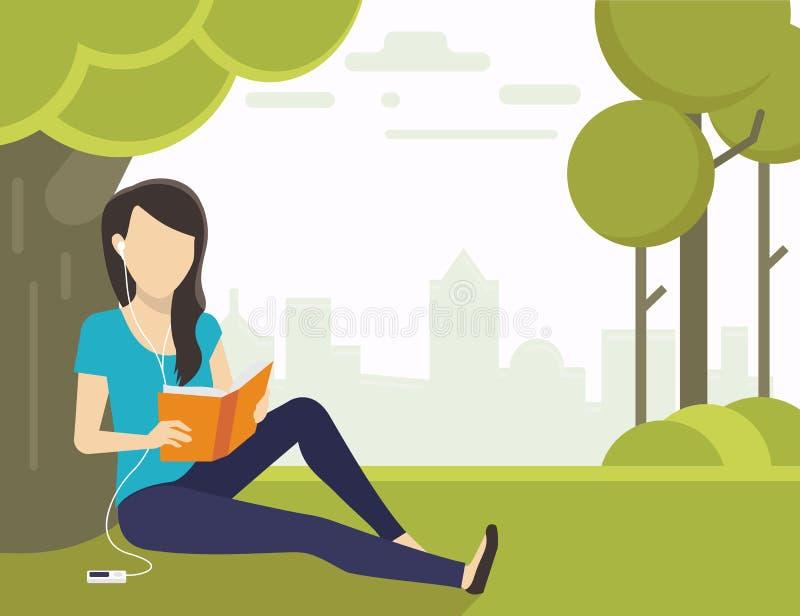 Mujer que lee un libro stock de ilustración