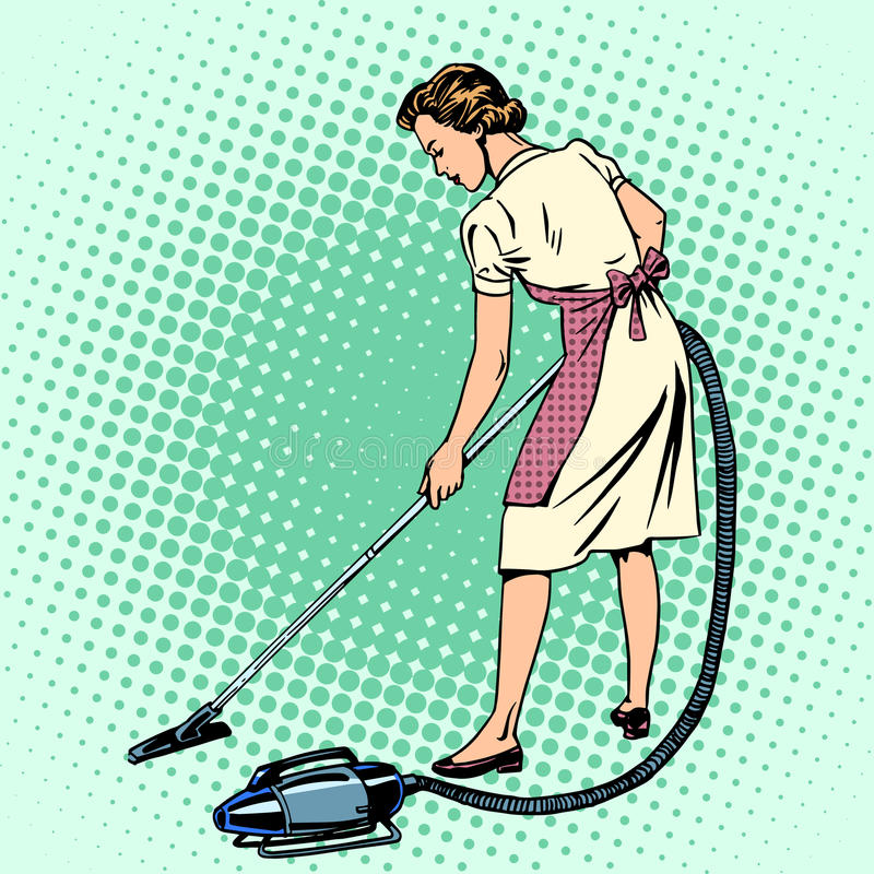 Mujer que limpia el quehacer doméstico del ama de casa con la aspiradora del sitio stock de ilustración