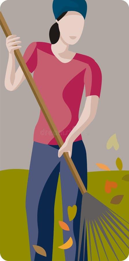 Mujer que limpia un jardín libre illustration