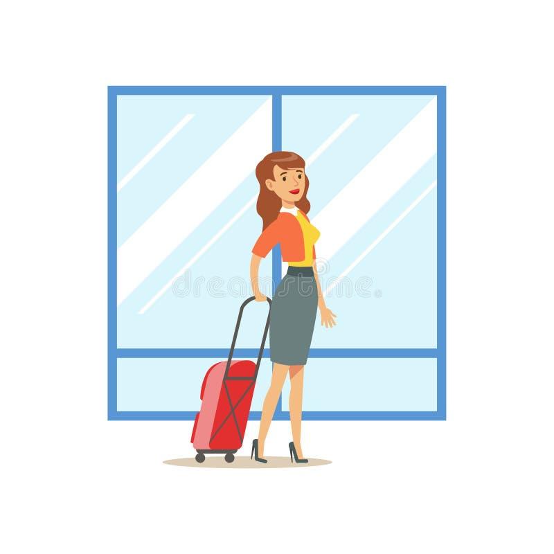 Mujer que llega con la maleta grande, la parte del aeropuerto y la serie relacionada de las escenas del transporte aéreo de ejemp ilustración del vector