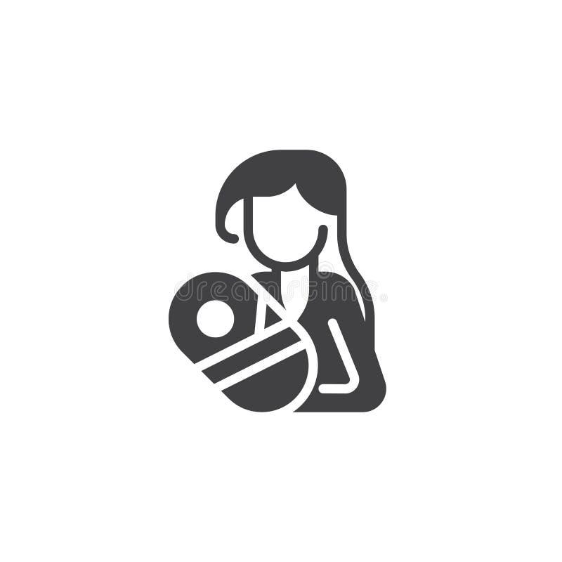 Mujer que lleva a cabo el icono recién nacido del vector del bebé stock de ilustración