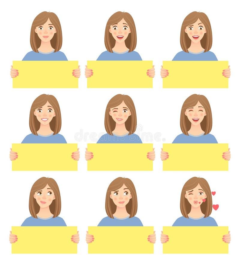 Mujer que lleva a cabo el sistema de la muestra stock de ilustración