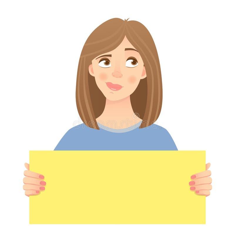 Mujer que lleva a cabo la muestra ilustración del vector