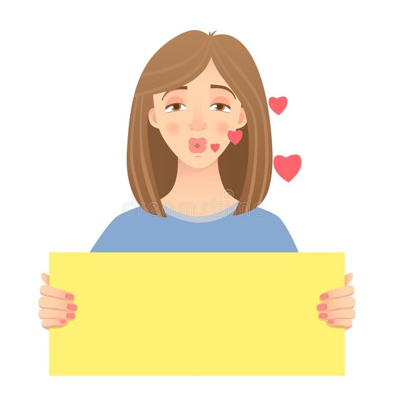 Mujer que lleva a cabo la muestra libre illustration