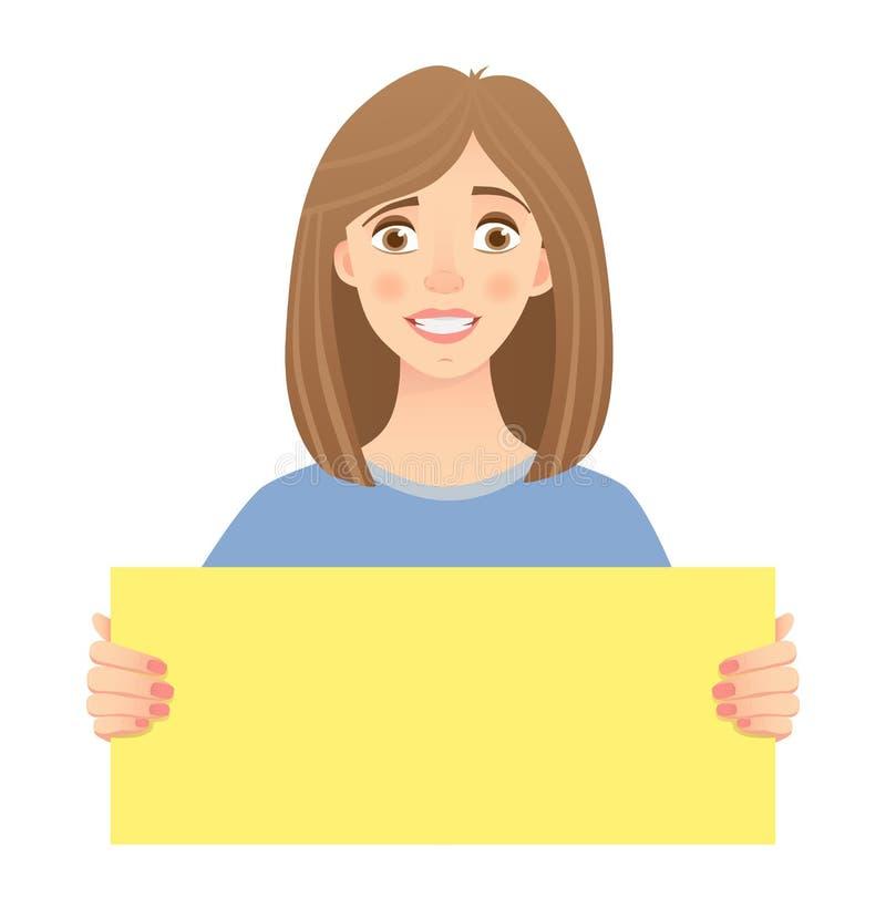 Mujer que lleva a cabo la muestra stock de ilustración
