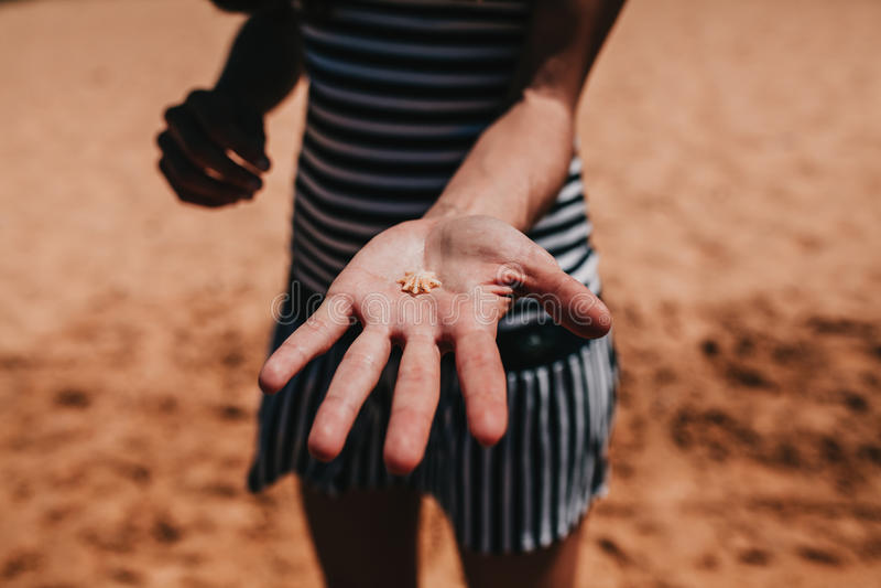 Mujer que lleva a cabo una pequeña cáscara en la mano en la línea de la costa imagen de archivo