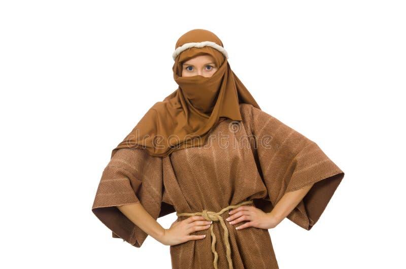 Mujer que lleva la ropa árabe medieval en blanco imagen de archivo