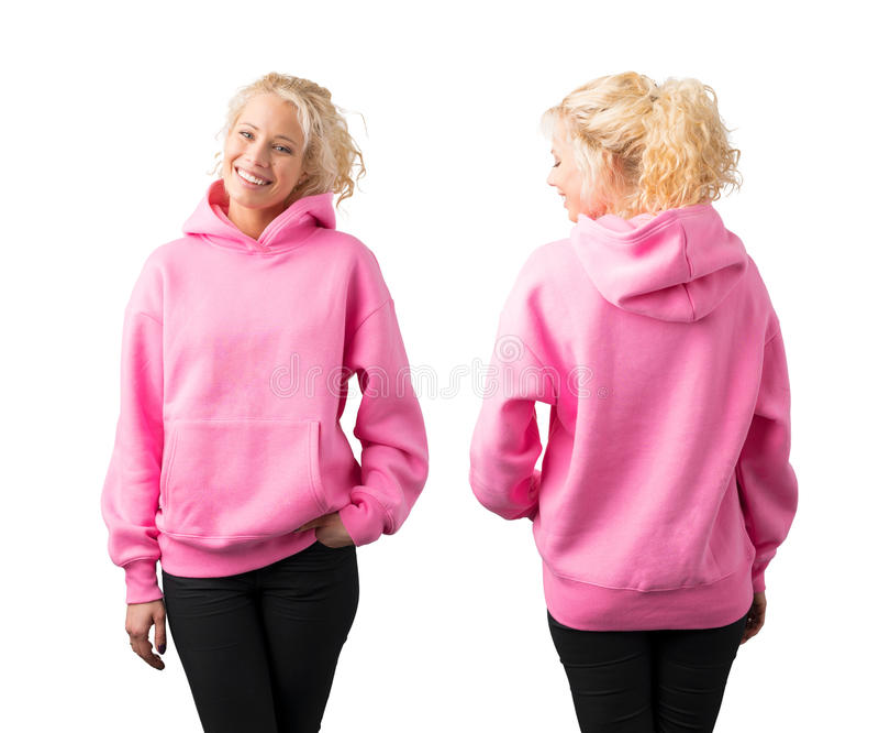 Mujer que lleva sudadera con capucha rosada vacía imagenes de archivo
